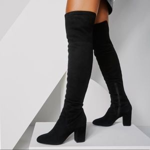 Aldo Maede Over the Knee Faux Suede Black Boots